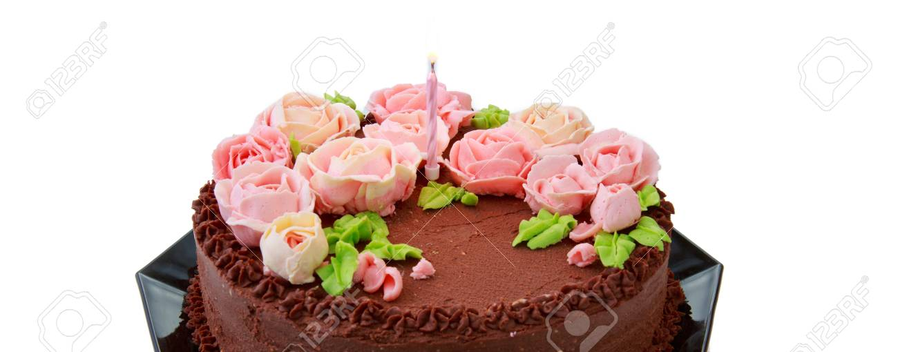 Chocolate Birthday Cake With Butter Cream Roses Stock Photo