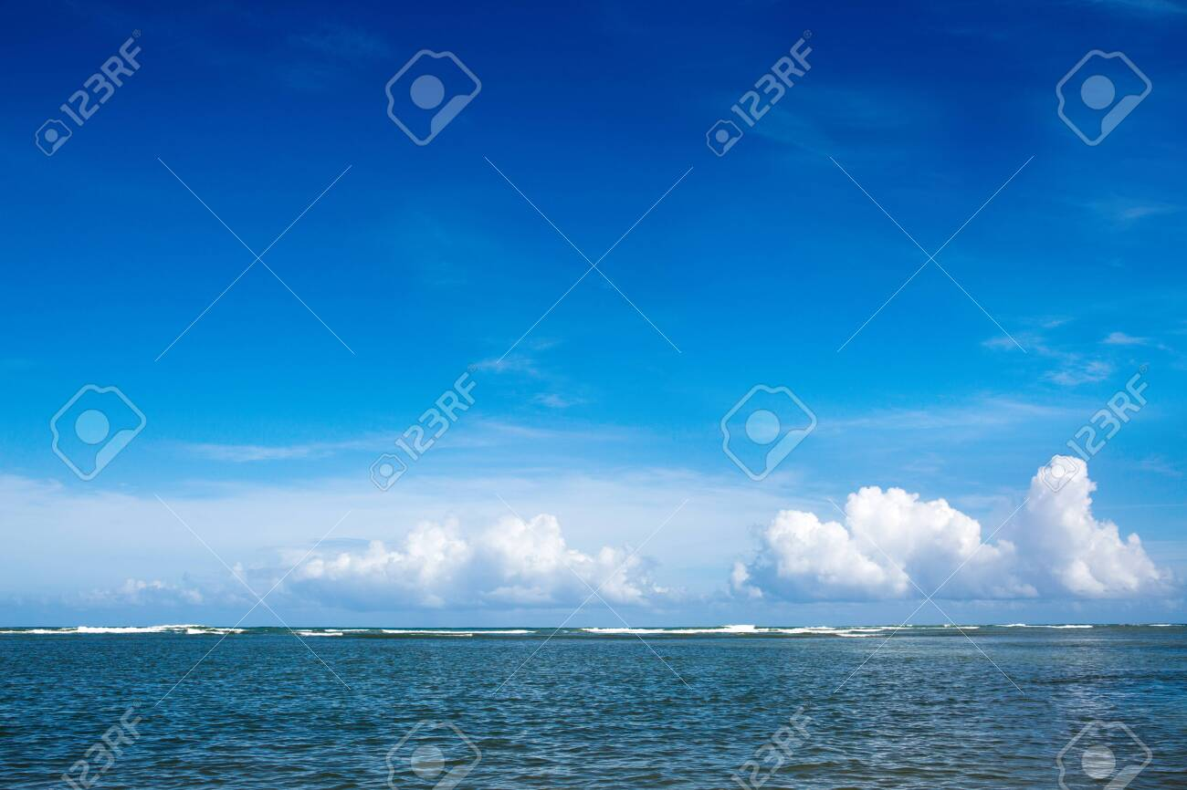 Caribbean sea and clouds sky. Travel background. - 130753660