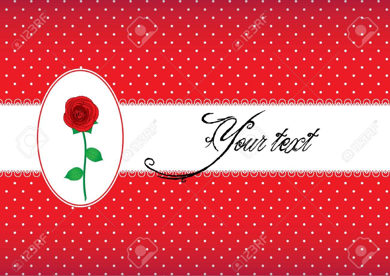 Polka dot card with rose Stock Vector - 10184922