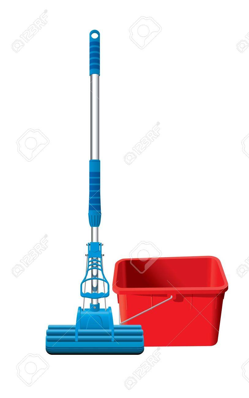 Detailed mop and bucket - 10261039