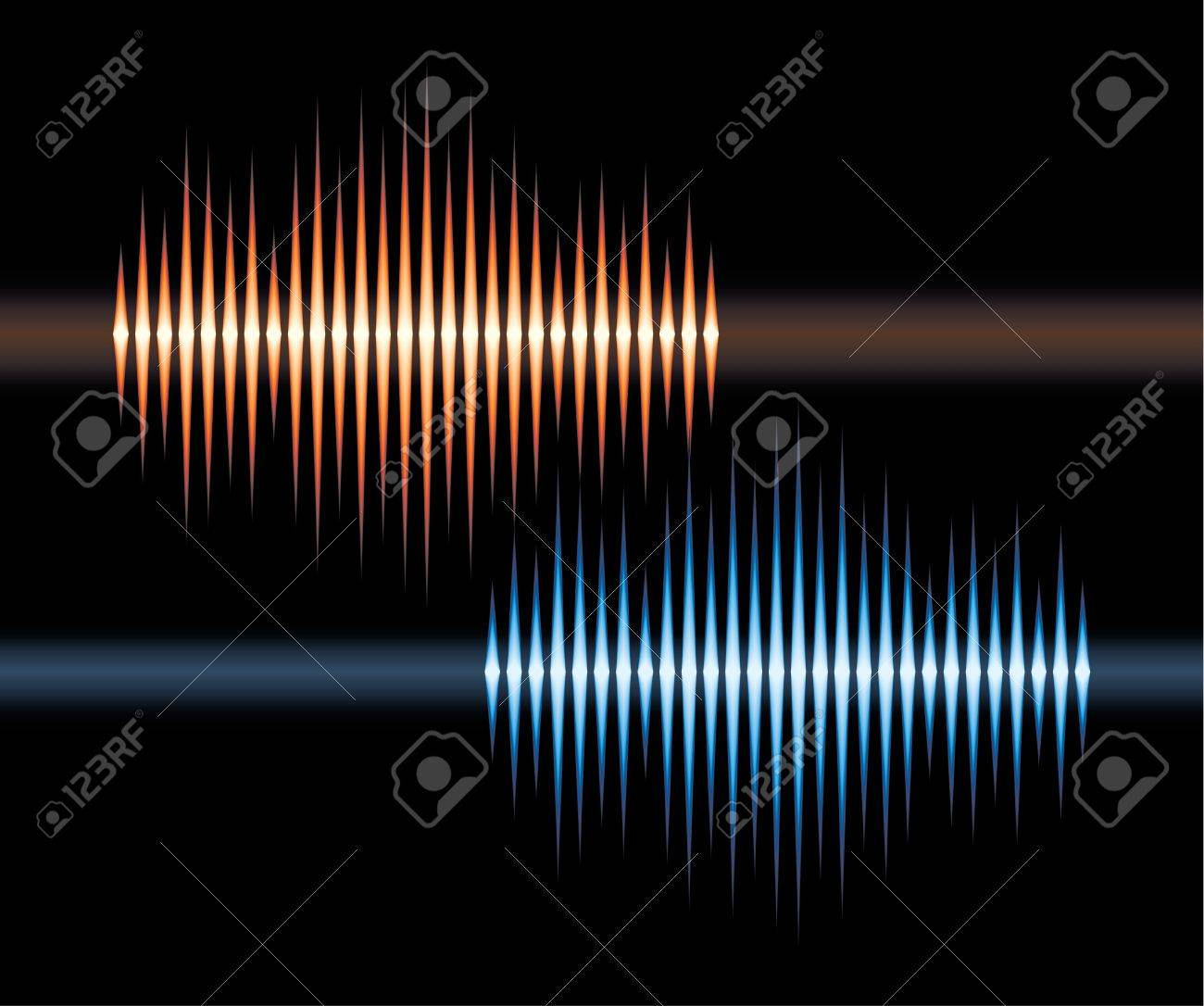Blue and orange stereo waveform Stock Vector - 10265788