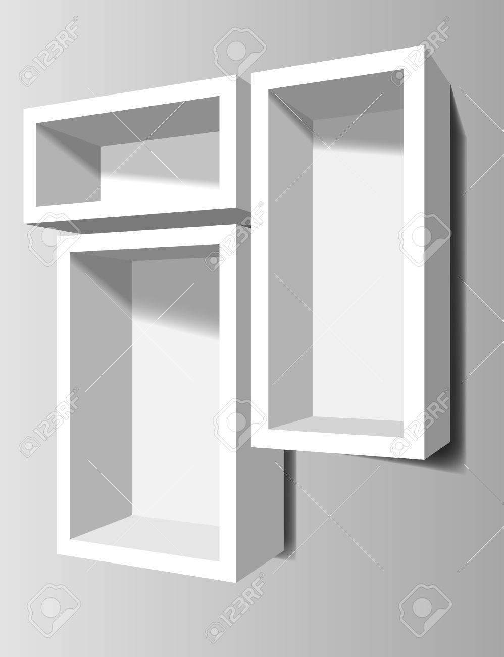 estantes blancos en la pared foto de archivo