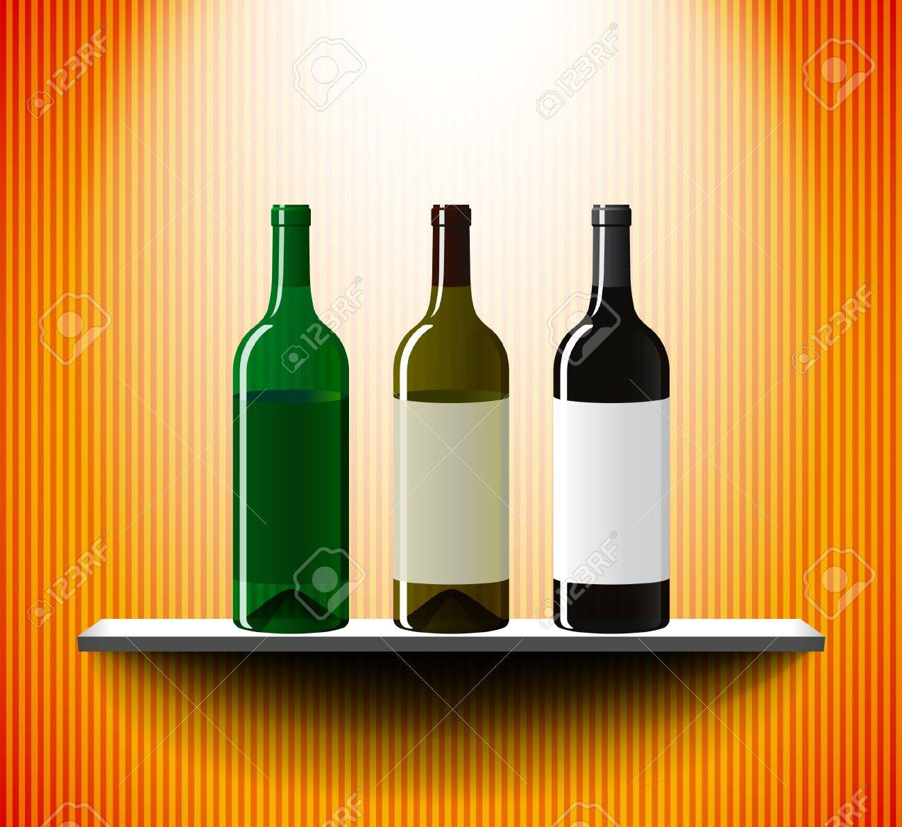 Wine bottles on a lightened shelf Stock Vector - 11236851