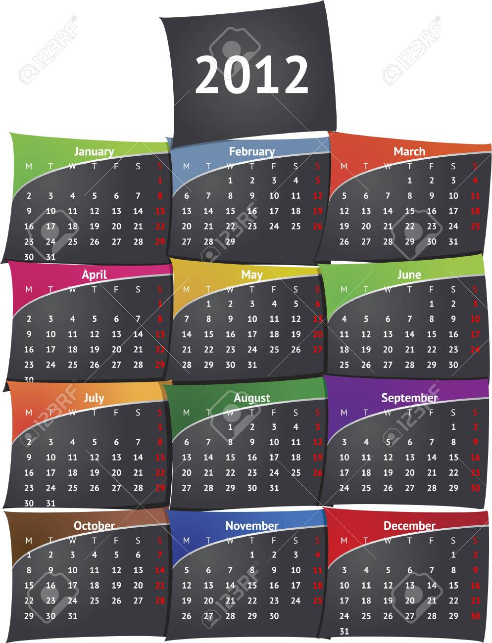 Sticky black calendar 2012 Stock Vector - 11362260