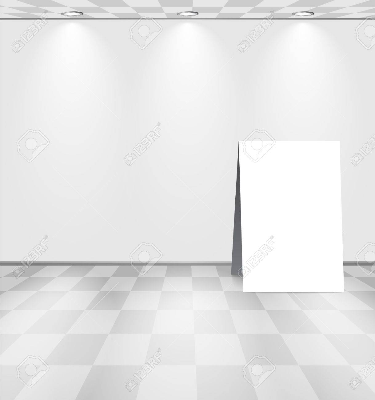 Grey room with ad stand Stock Vector - 11660904
