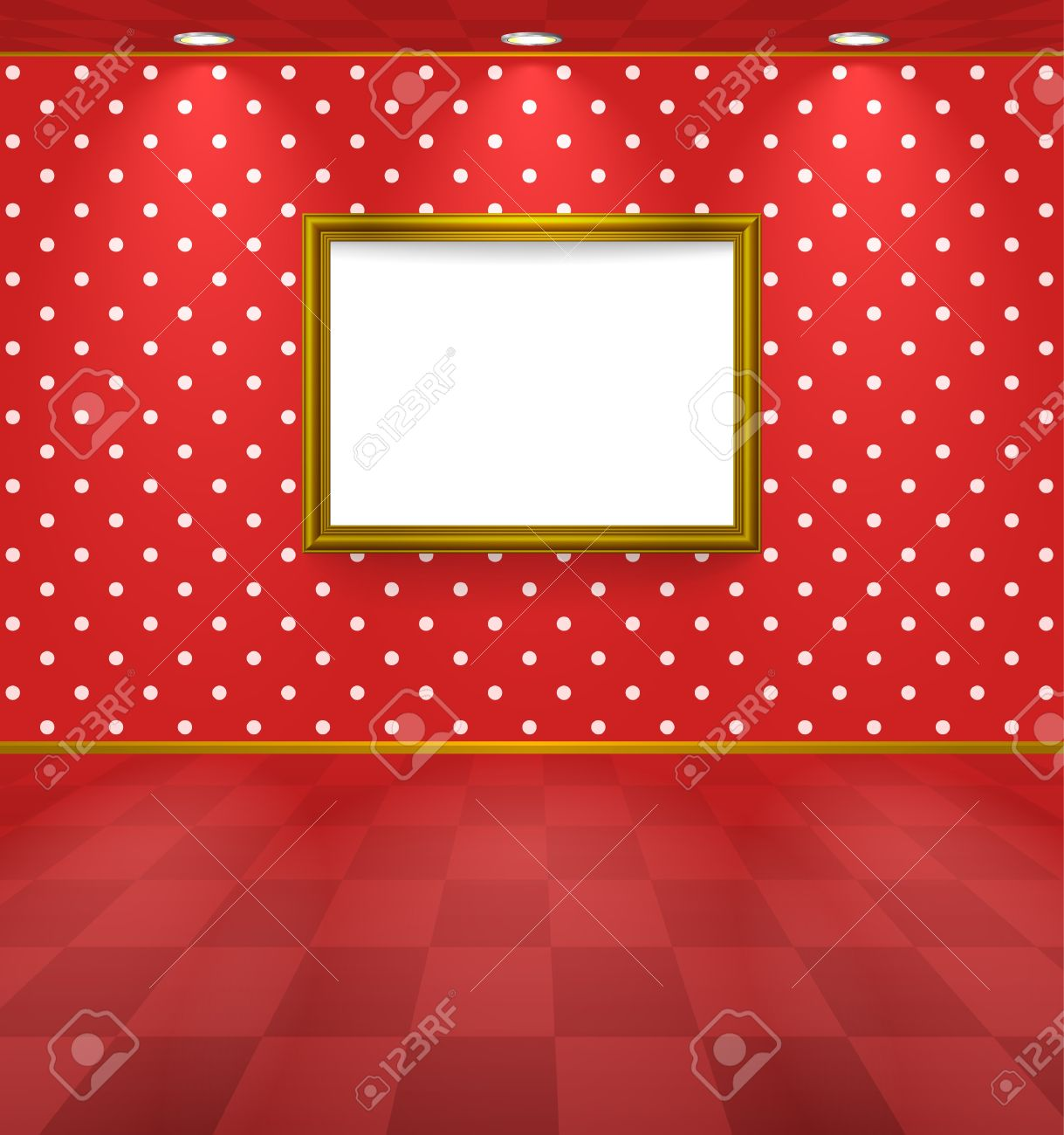 Room with frame and polka dot wallpaper Stock Vector - 11660956
