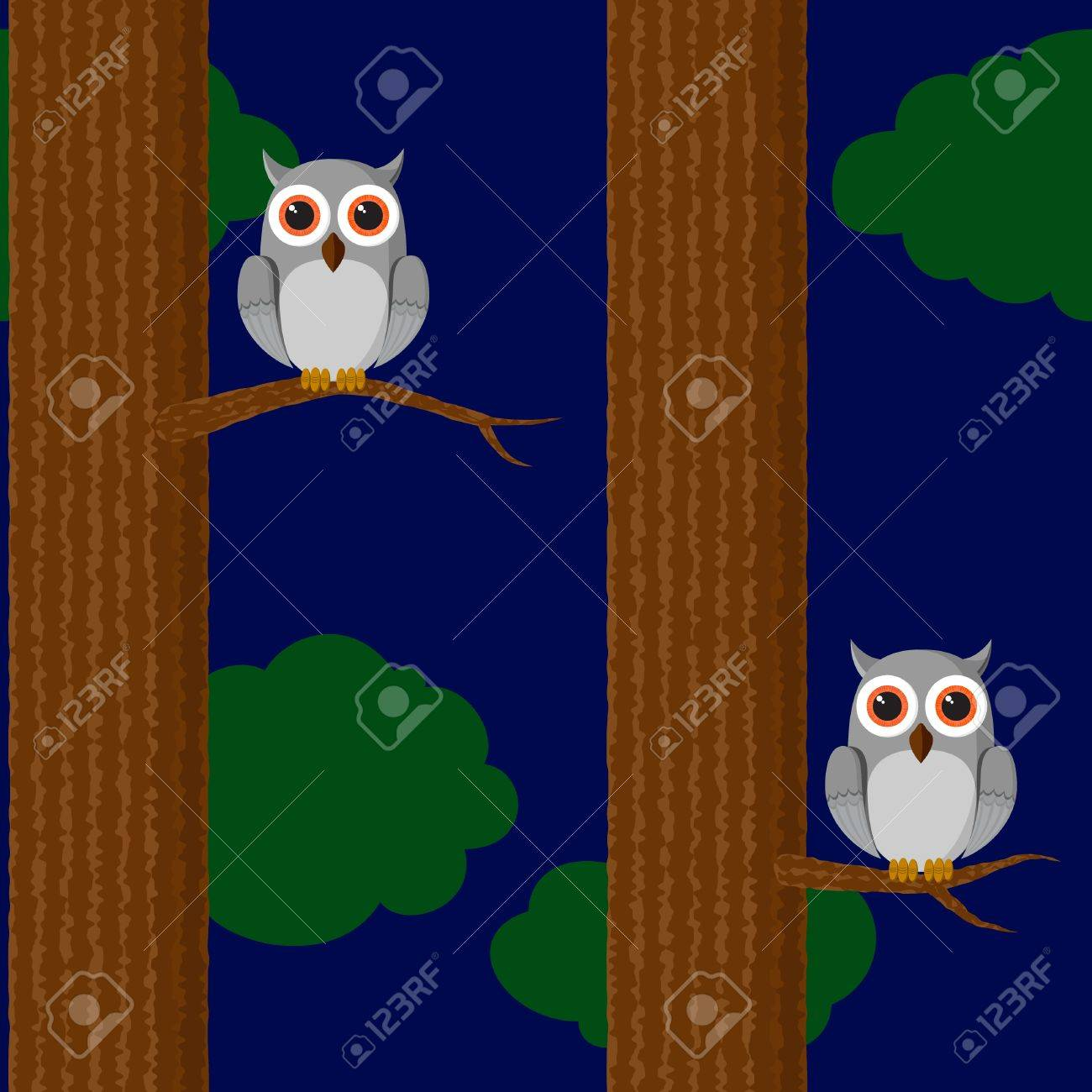 Seamless childish wallpaper with owl in the forest Stock Vector - 11660986
