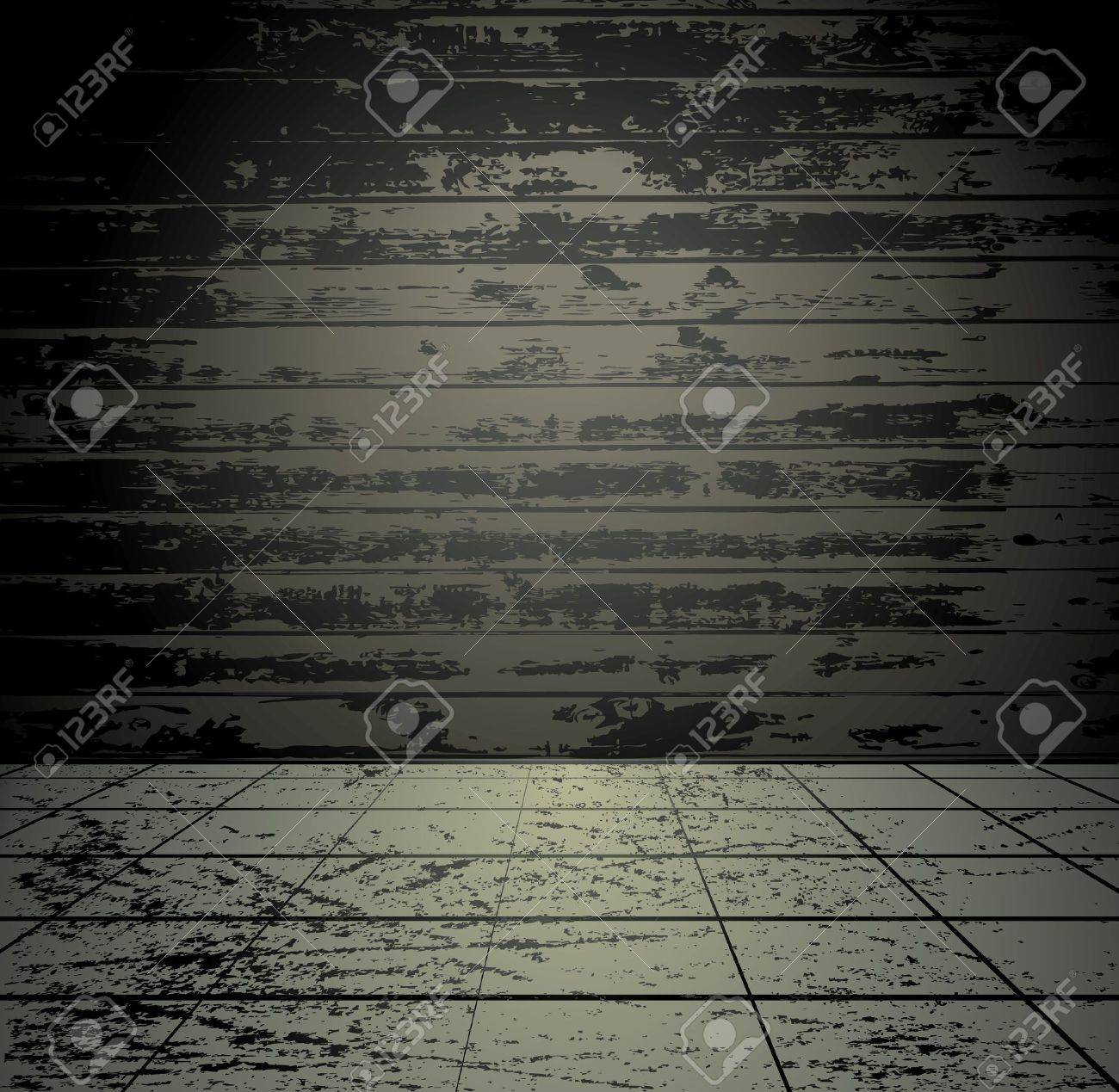 Grunge room with wooden wall Stock Vector - 11986558