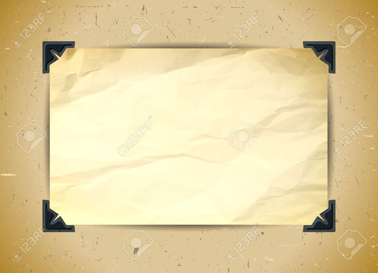 Crumpled Paper With Photo Corners Royalty Free Cliparts Vectors