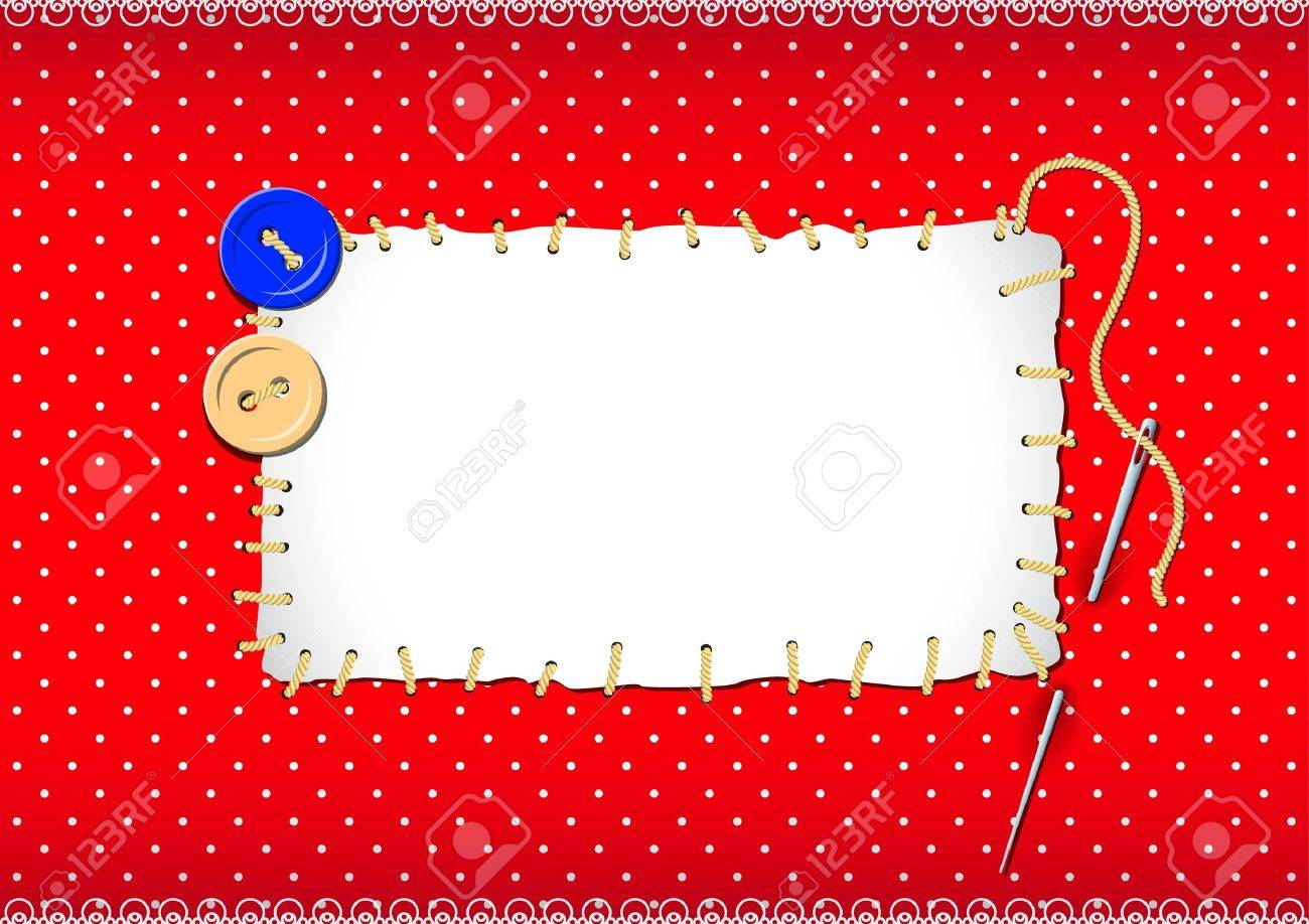 Stitched patch with buttons and needle Stock Vector - 12398552