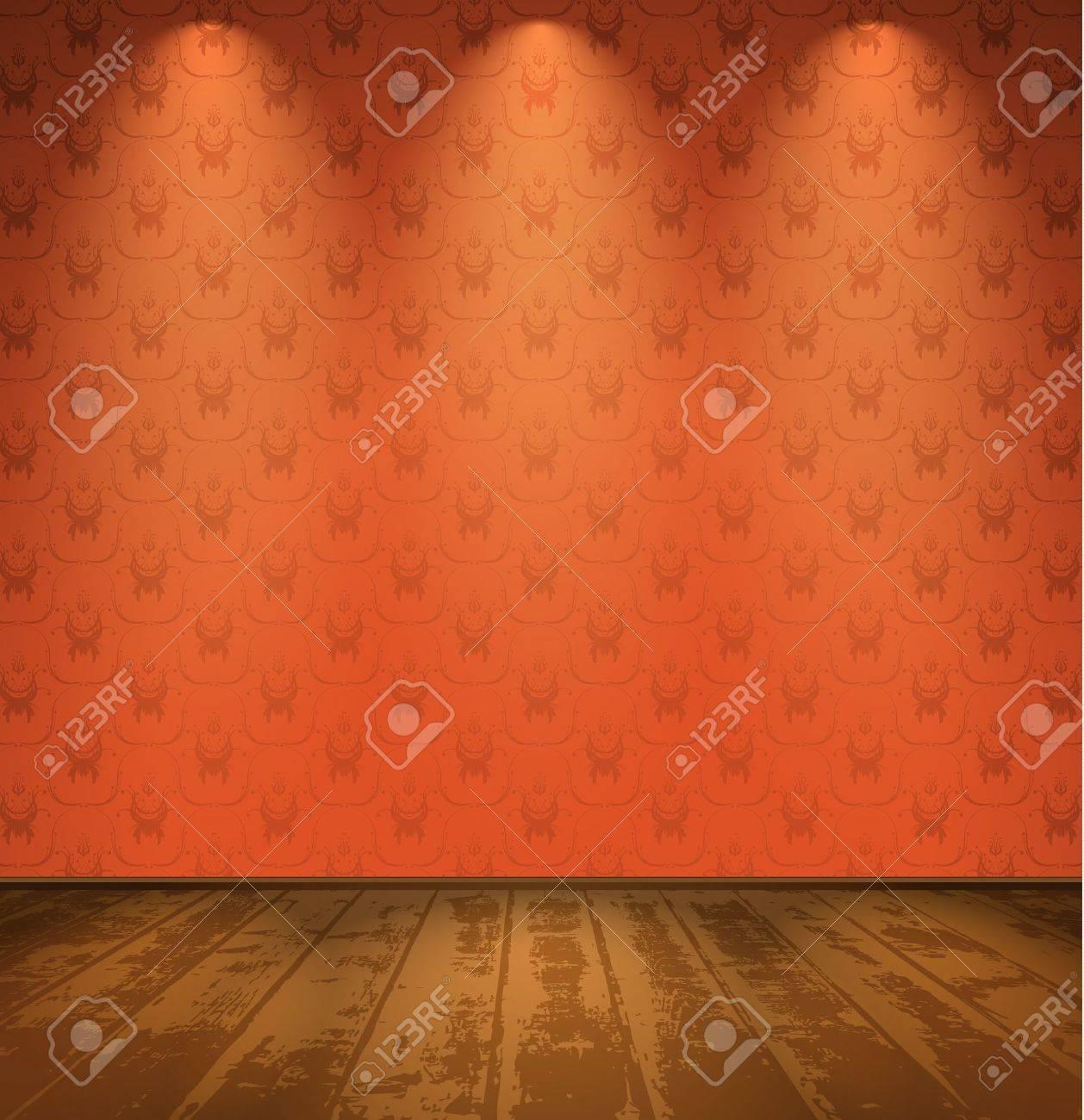 Red room with wooden floor Stock Vector - 13005599