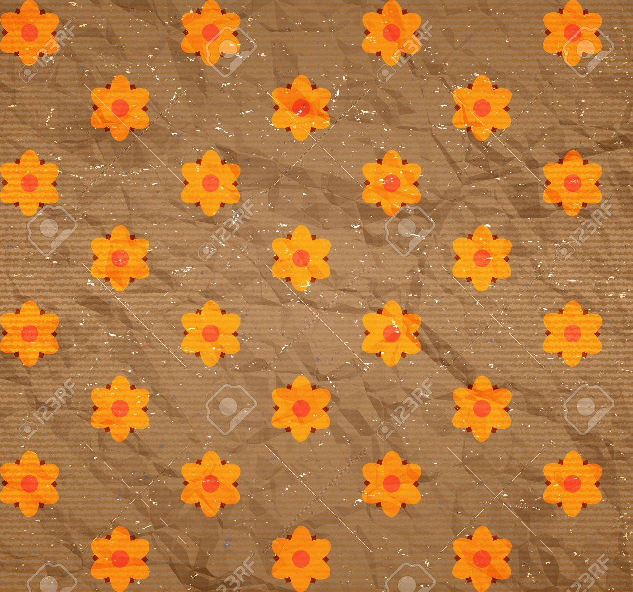 Crumpled and scratched cardboard with floral print Stock Vector - 13683649