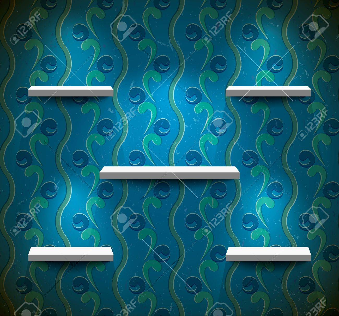 Five lightened shelves on the blue wall with floral wallpaper Stock Vector - 13781814