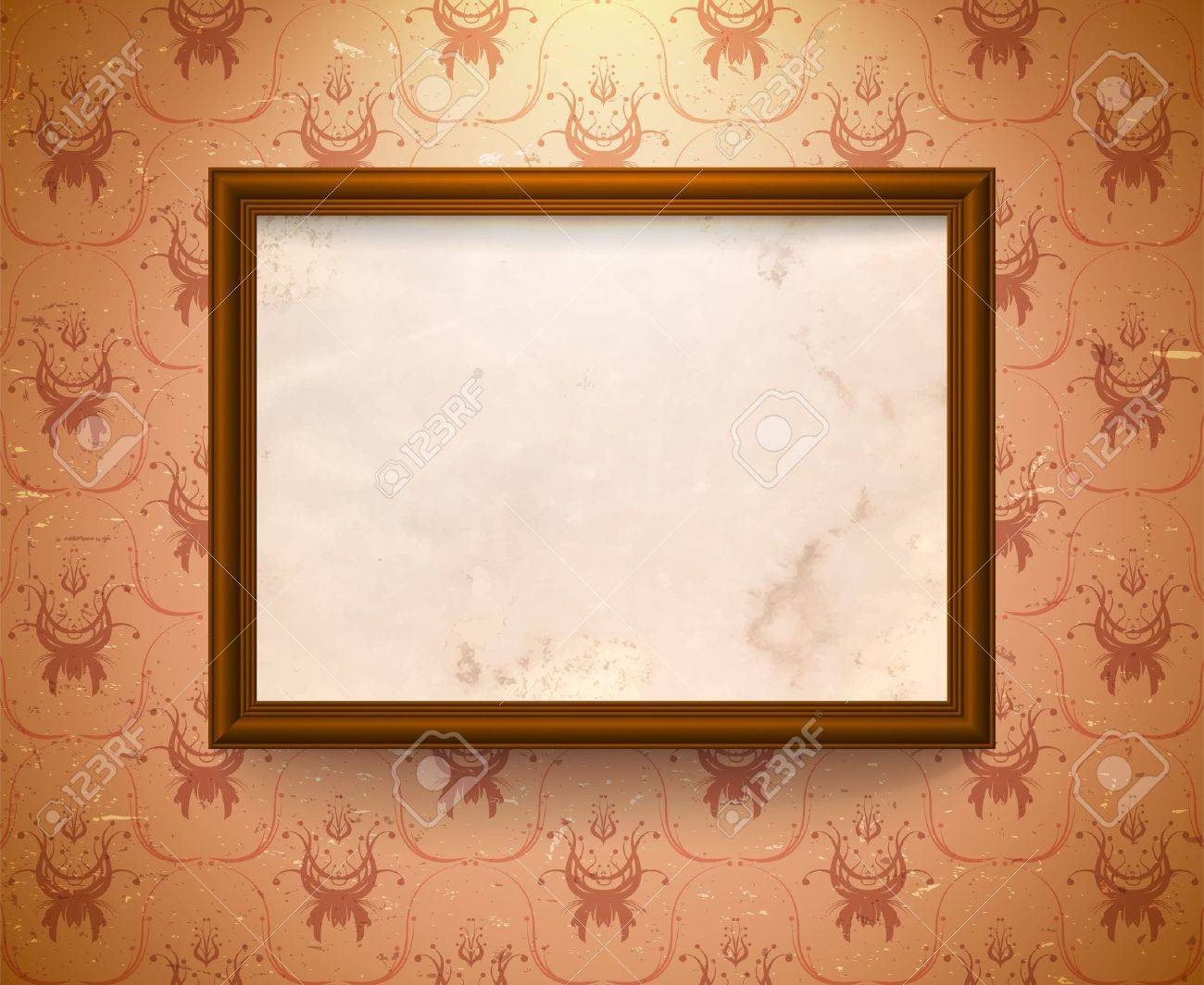 Vintage frame on the wall with aged floral wallpaper Stock Vector - 13781806