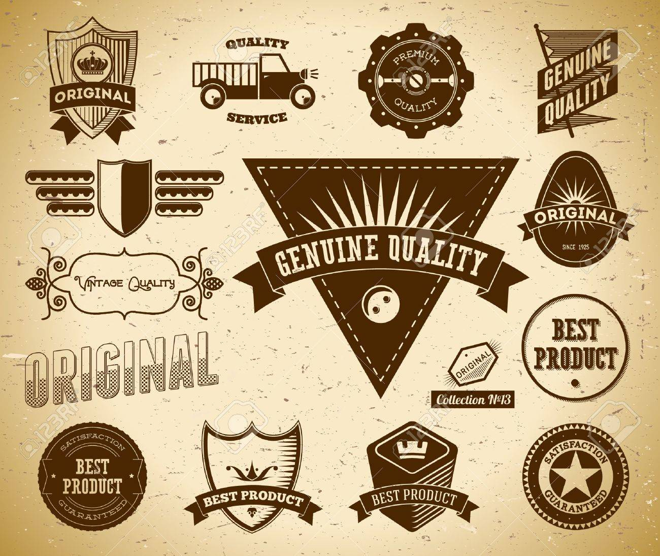 Set of vintage labels on the cardboard. Collection 13 Stock Vector - 14559767