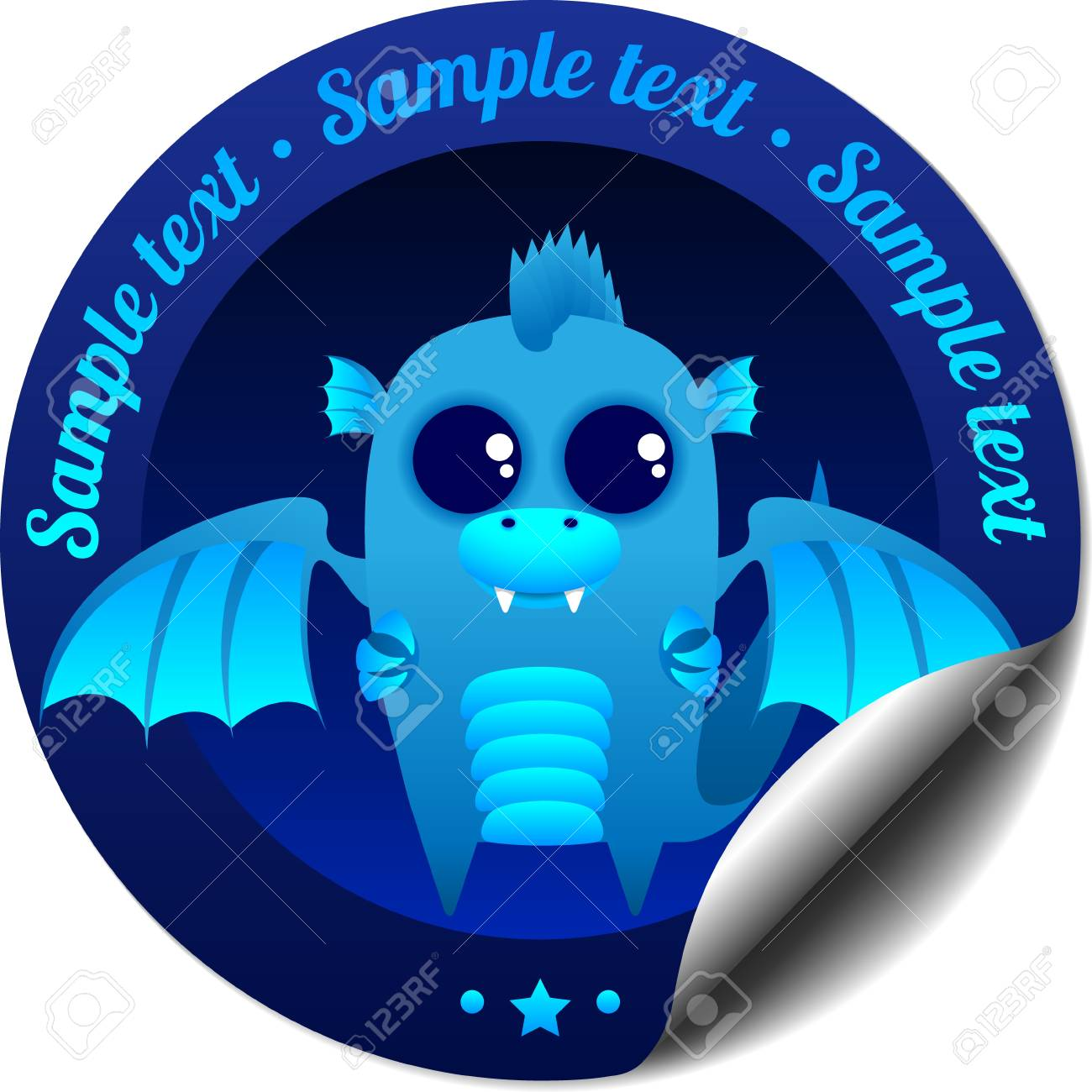 Sticker with blue fantasy dragon with wings Stock Vector - 15494103