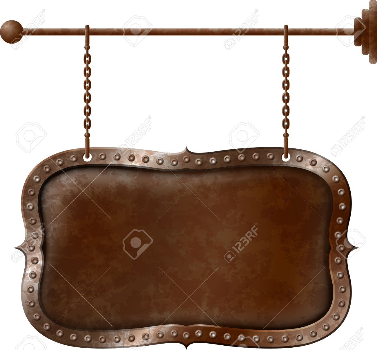 Old rusty metal signboard on the chains Stock Vector - 16703176