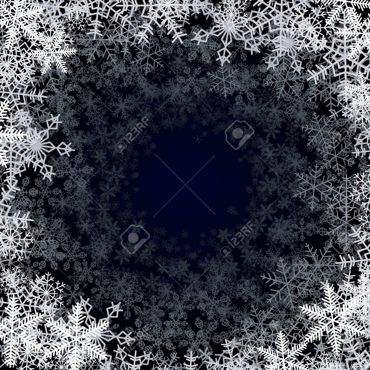 Round frame with snowflakes falling into darkness Stock Vector - 16835422