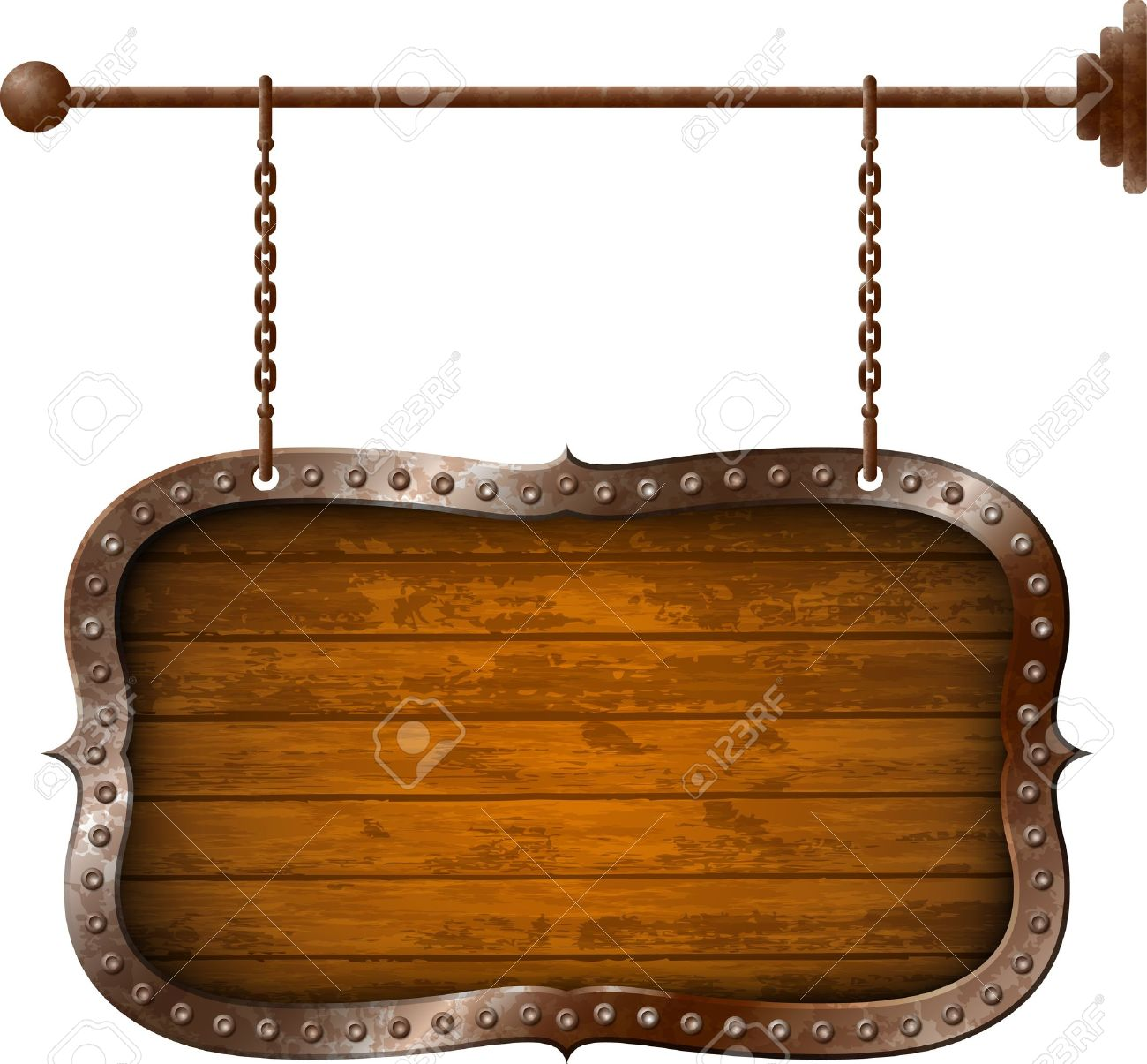 Wooden signboard with metal rim on the chains Stock Vector - 18084794