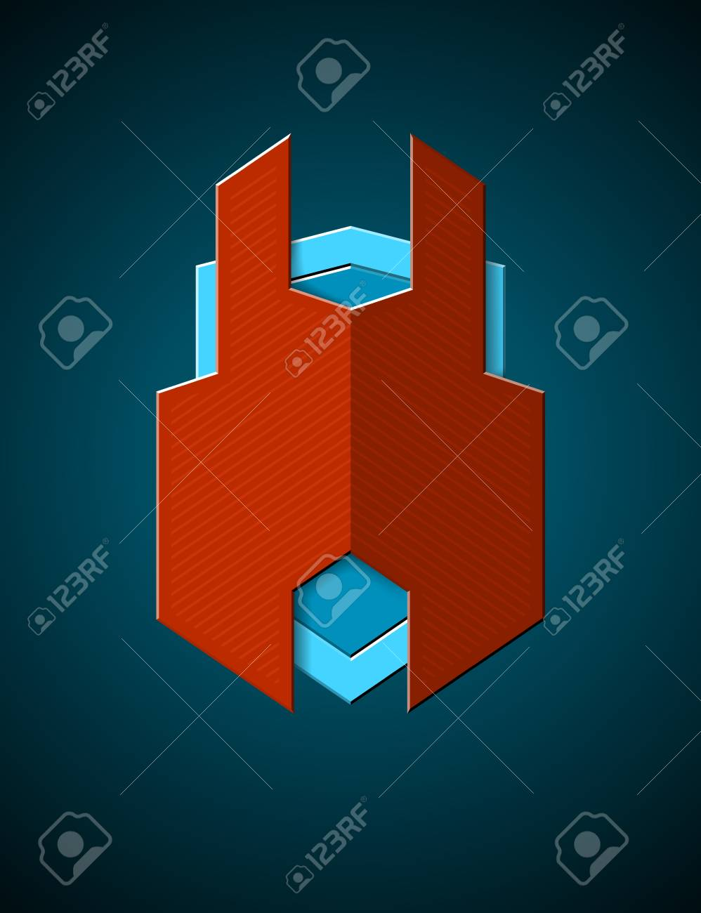 Techno styled shield emblem with red protection cover Stock Vector - 21491114