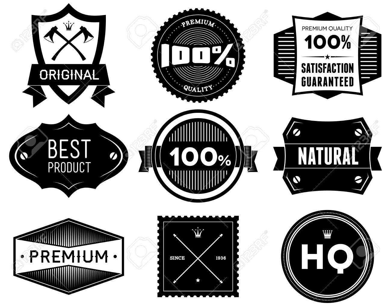 Set of vintage Premium Quality labels  Bitmap collection 5 Stock Photo - 21491119