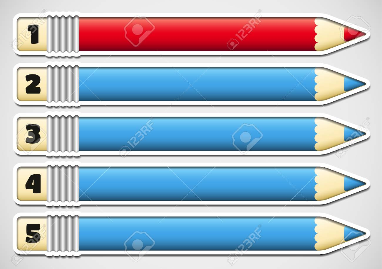 Infographics with numbered red and blue pencil stickers Stock Vector - 22951155