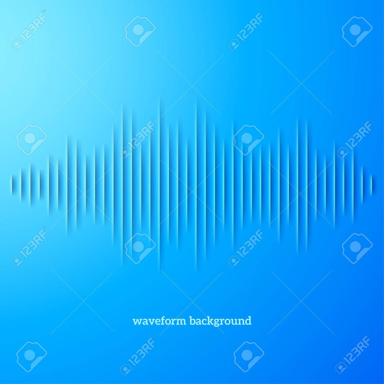 Paper cut blue sound waveform sign with shadow Stock Vector - 27567477