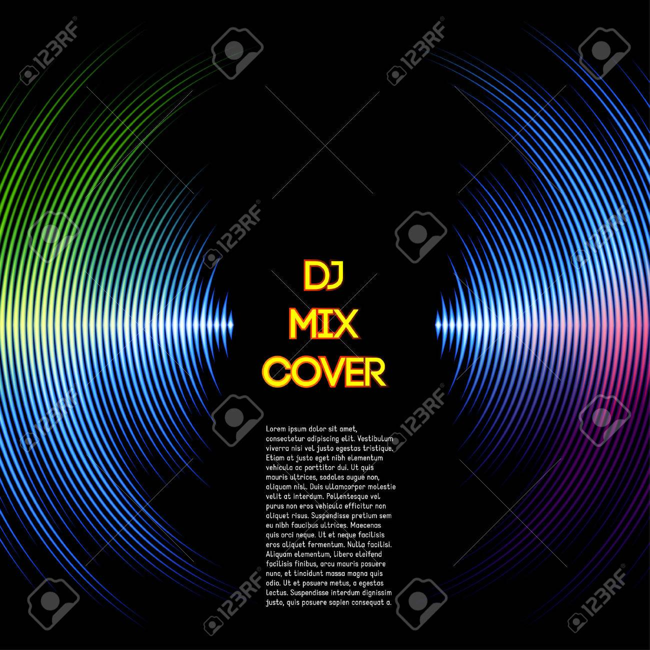 DJ mix cover with music waveform as a vinyl grooves - 33302494