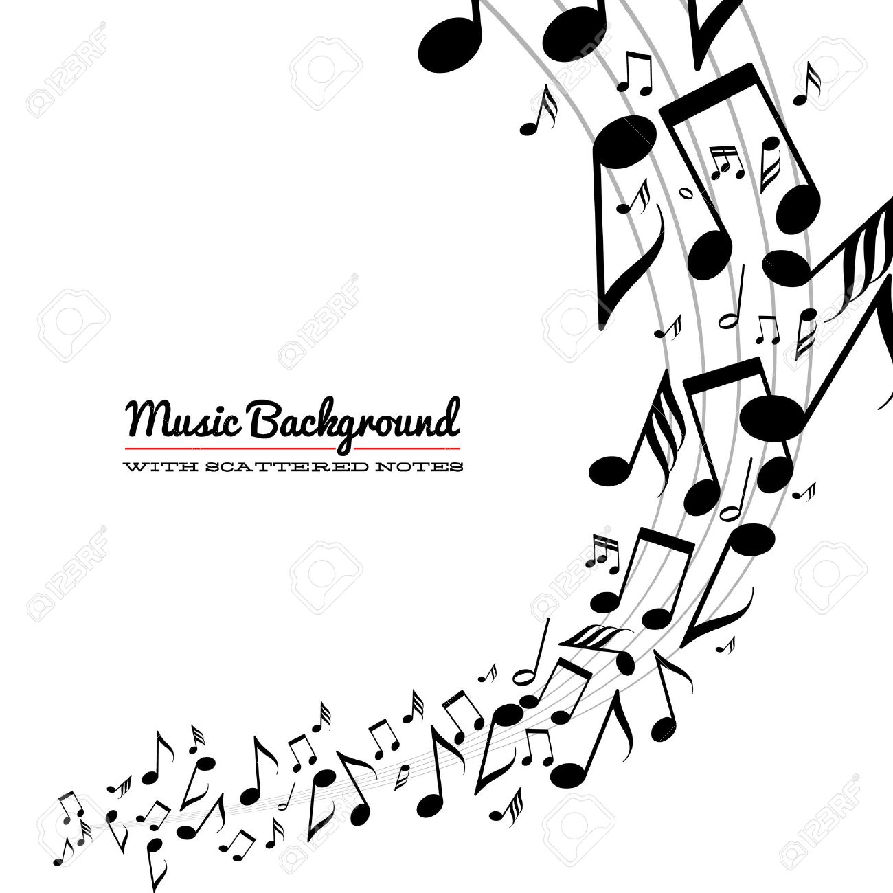 card with wave of messy scattered music notes on stave royalty free rh 123rf com Swirl Tree Music Swirl