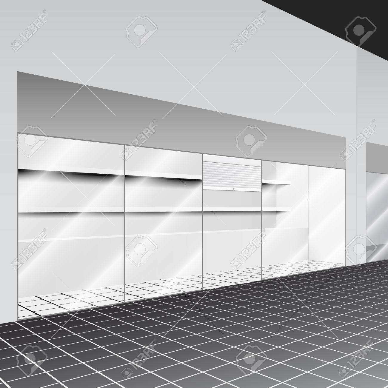 shop mit ständer und regale in den flur mit perspektive lizenzfrei