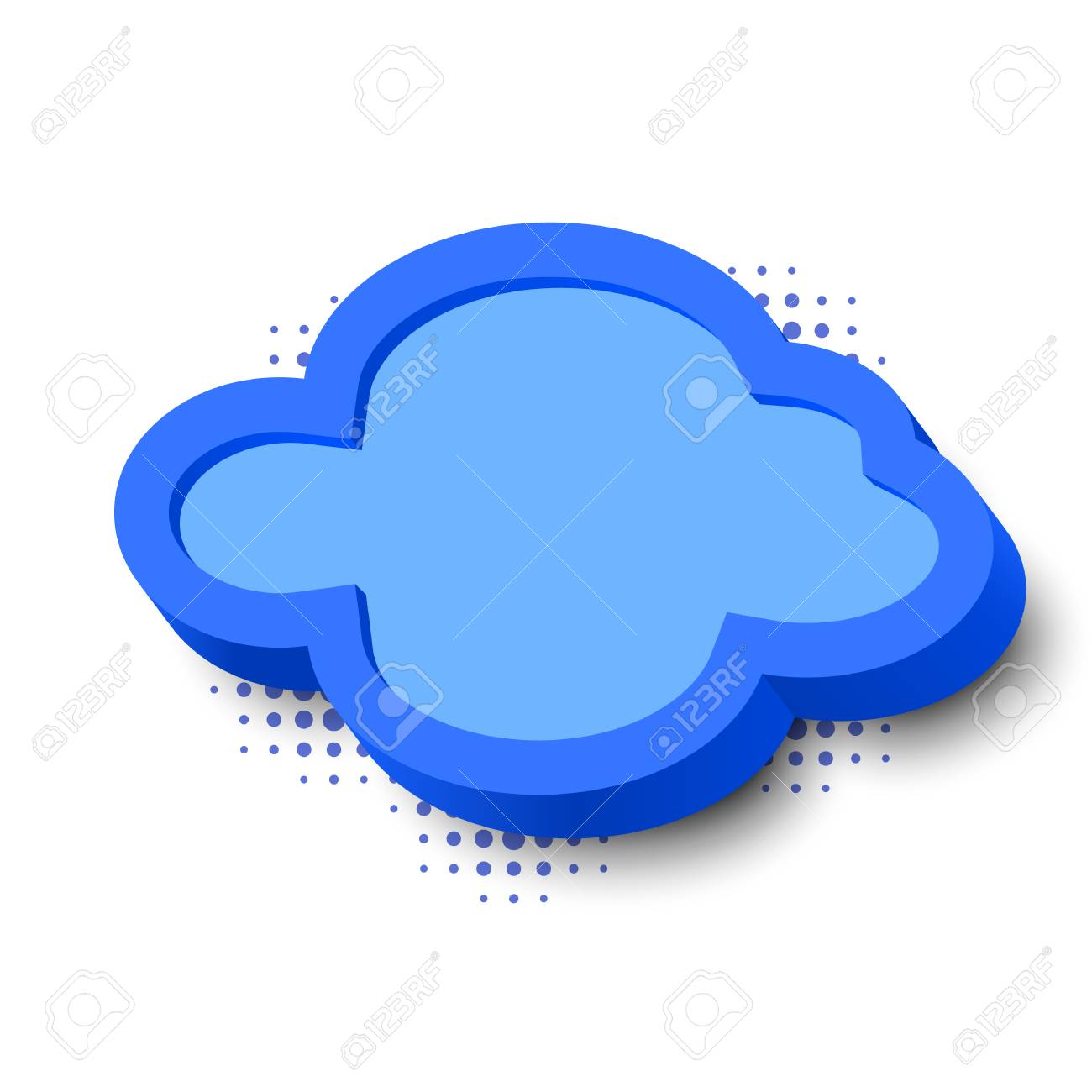 3d Blue Cloud Frame With Border And Halftone Dots Royalty Free ...