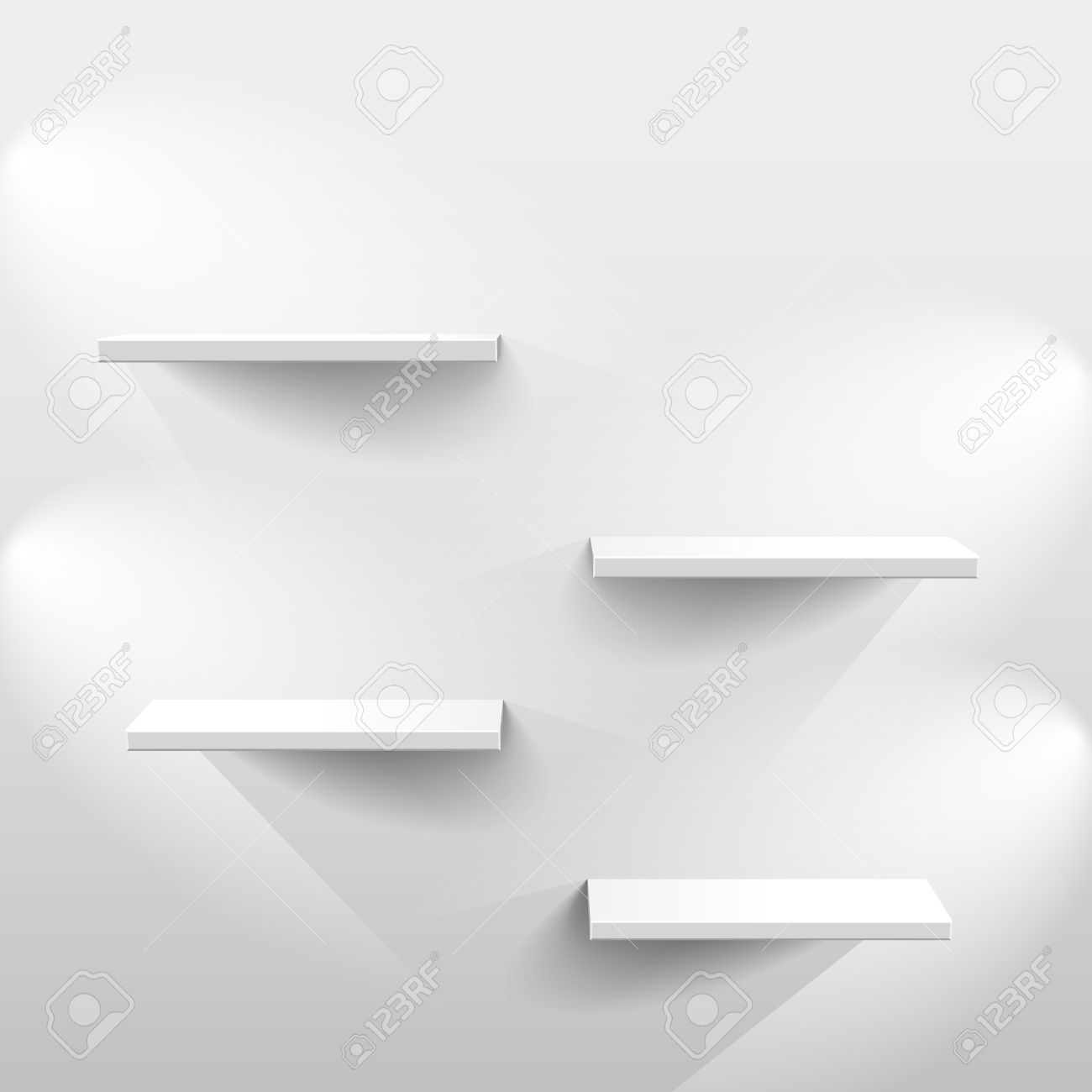 Shelves with light and shadow in empty white room - 41956971