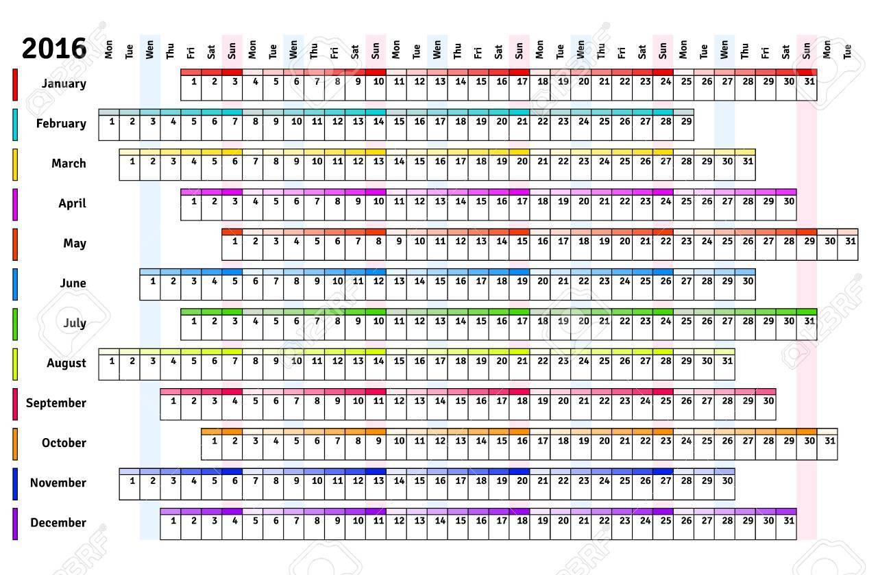 Calendario Lineal.Blanca Calendario Lineal 2016 Con Dia Y Mes Del Color De Codificacion