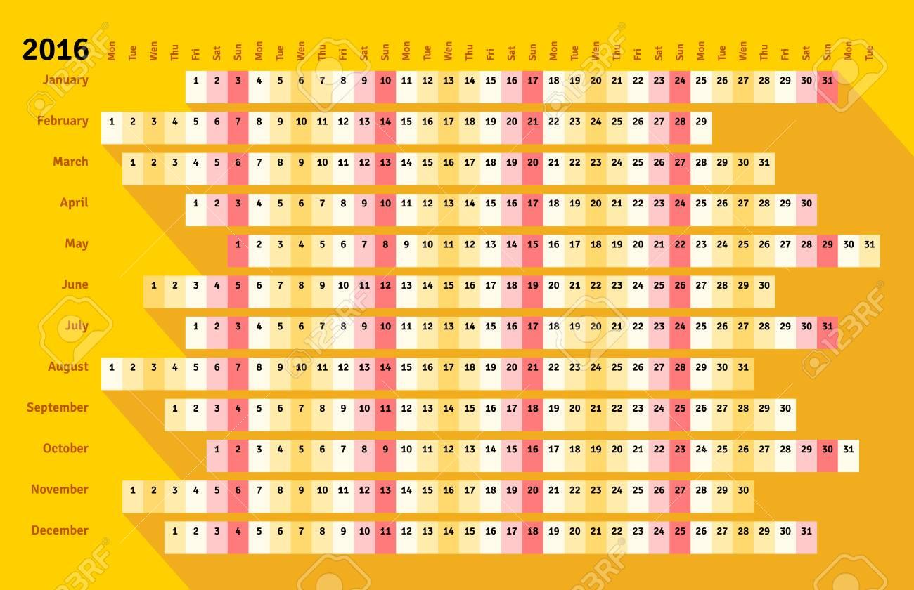 Calendario Lineal.Calendario Lineal De Estilo Plano Amarillo 2016 Con Una Larga Sombra