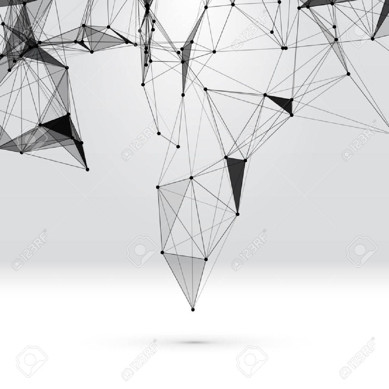 Abstract background with dotted grid and triangular cells - 46479198