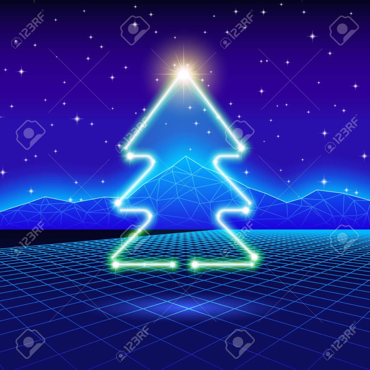 Carte De Noël Avec L'arbre De Néon Et 80 Informatique Fond Clip