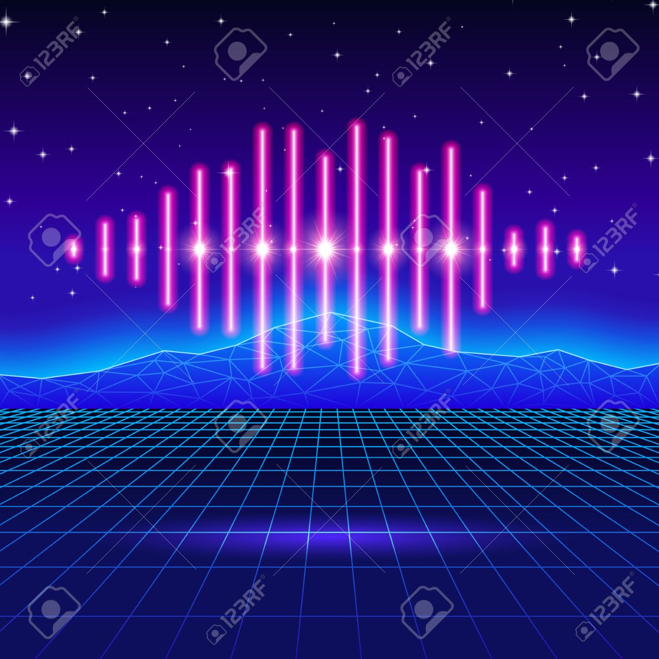 Retro gaming neon background with music wave - 55143368