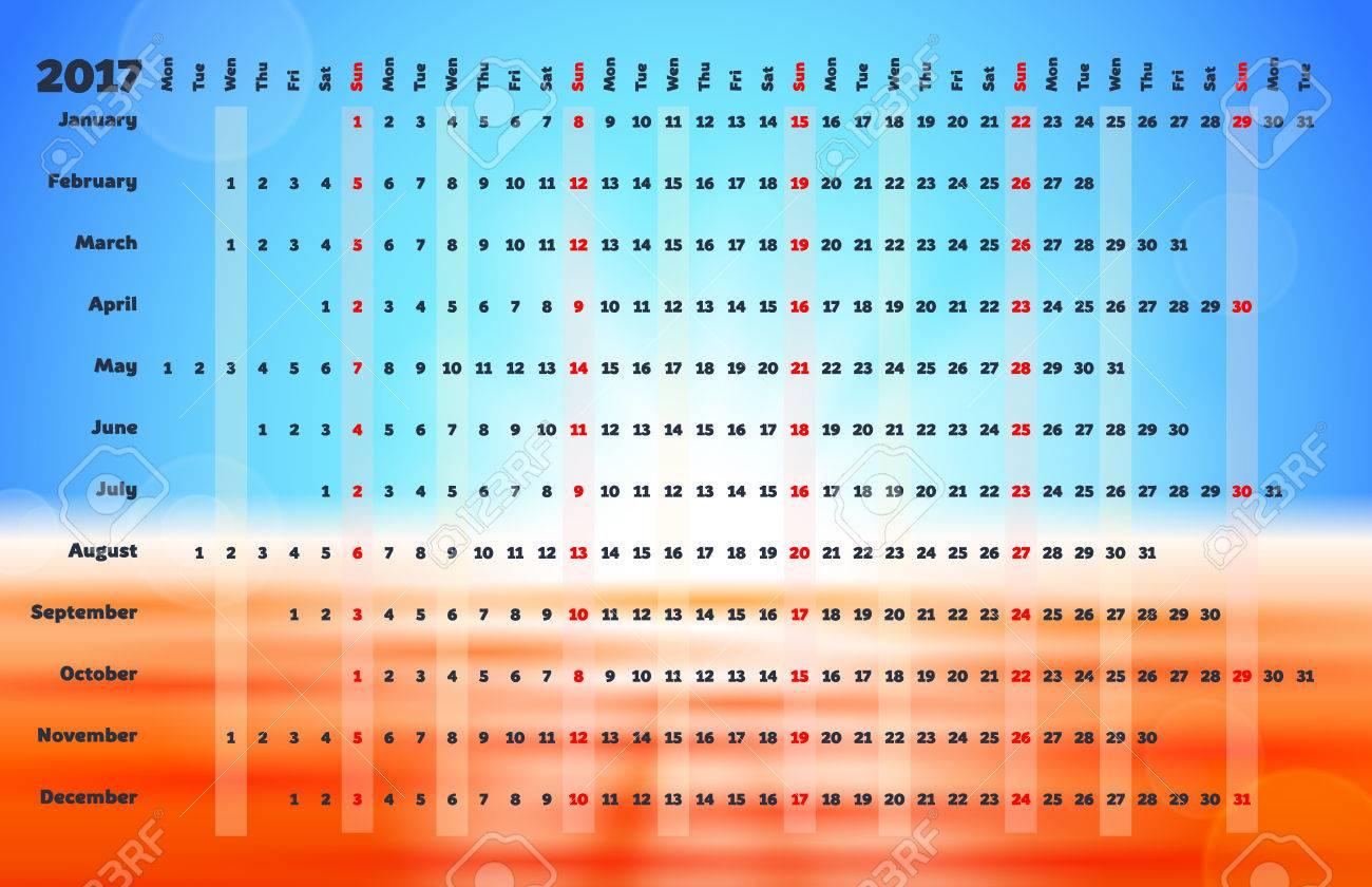 Calendario Lineal.Calendario 2017 Con La Codificacion De Color Dias Cuadricula Del Calendario Lineal