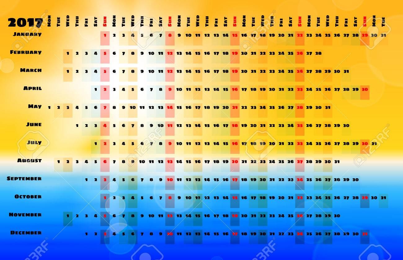 Calendario Lineal.Calendario 2017 Con Codigos De Colores De Dias Y Cuadricula De Calendario Lineal