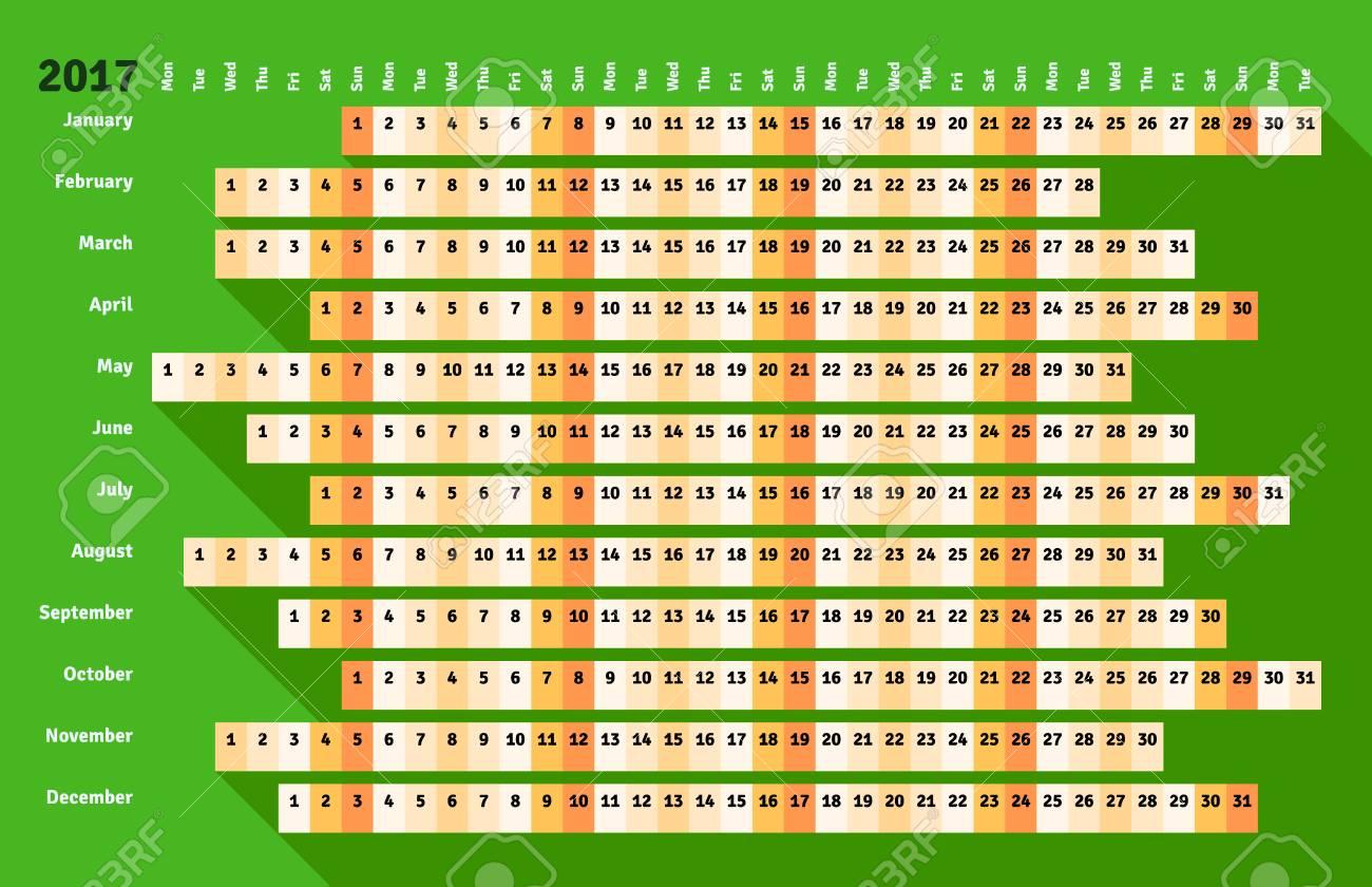 Calendario Lineal.Calendario Lineal De Estilo Plano Verde 2017 Con Una Larga Sombra
