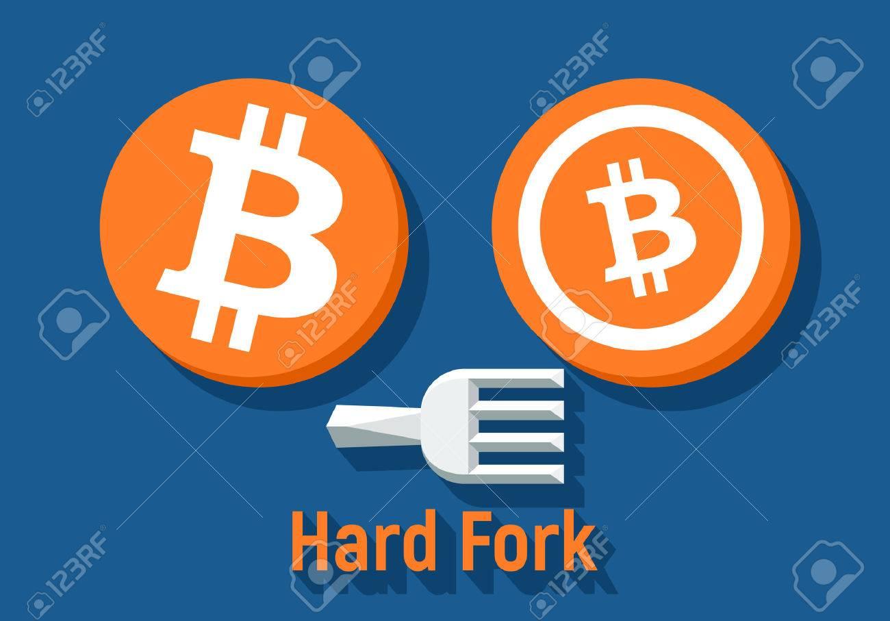 Bitcoin Hard Fork Split To Bitcoin Cash Blockchain Cryptocurrency -