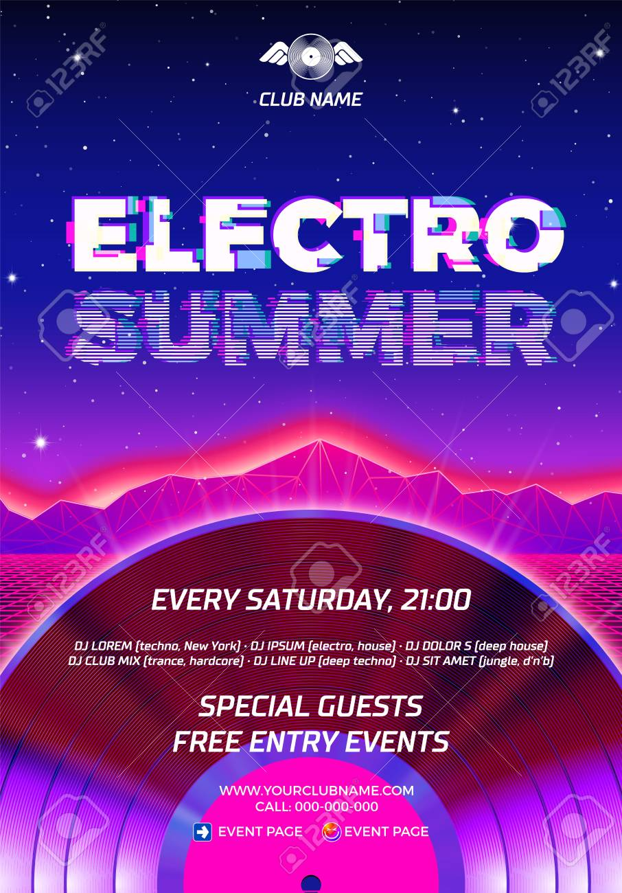 Vinyl party poster 80s style with ultraviolet background and