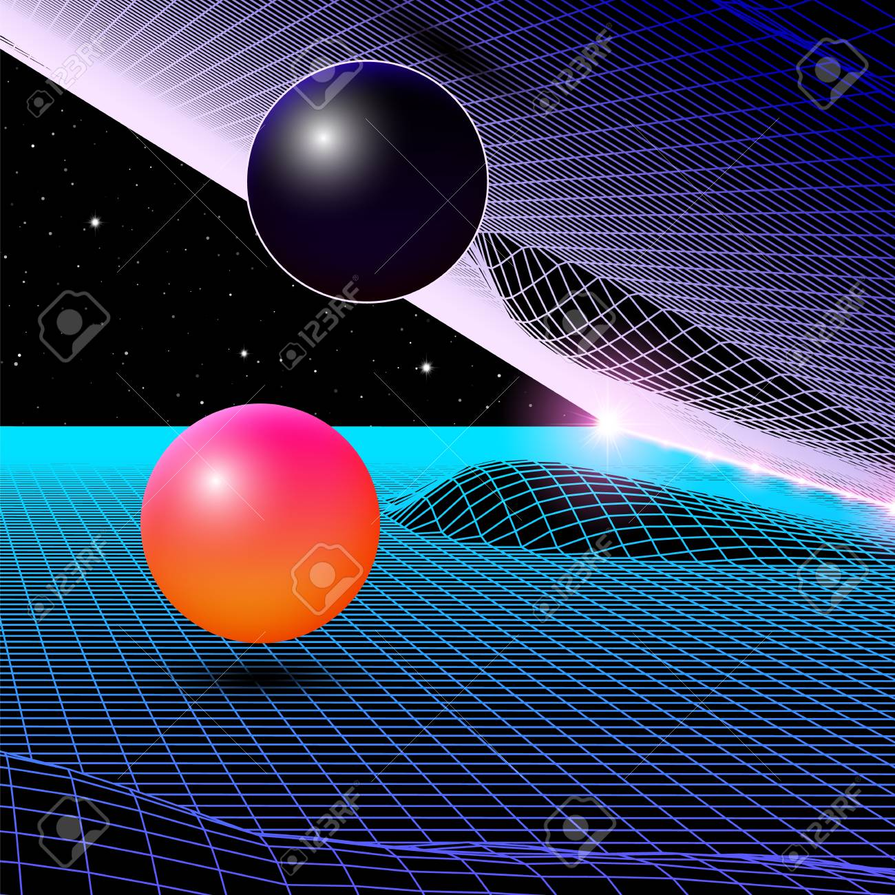 Landscape with wireframe grid of 80s styled retro computer game