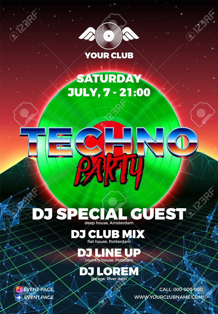 Vinyl party poster 80s style with arcade background and LP for