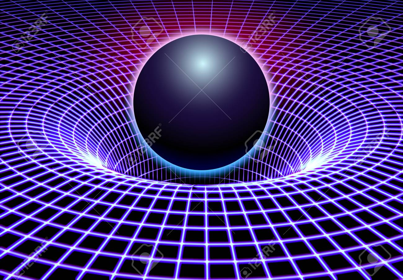 Black hole or gravity grid with glowing ball or sun in 80s synthwave