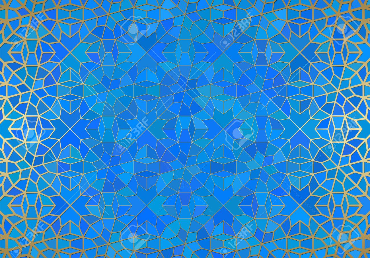 Abstract background with islamic ornament, arabic geometric texture. Golden lined tiled motif over colored background with stained glass style. - 121117523