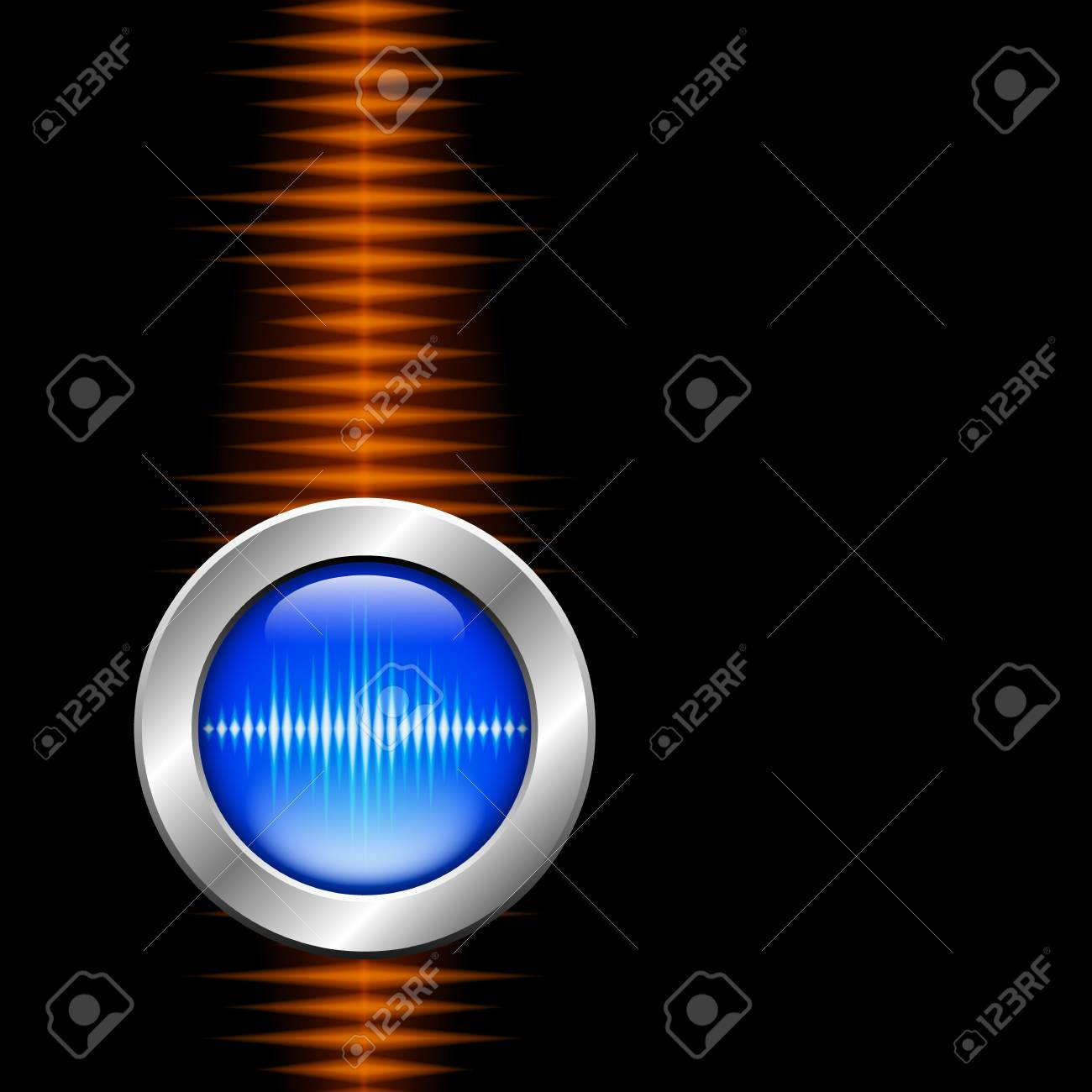 Silver button with sound or music waveform and orange wave