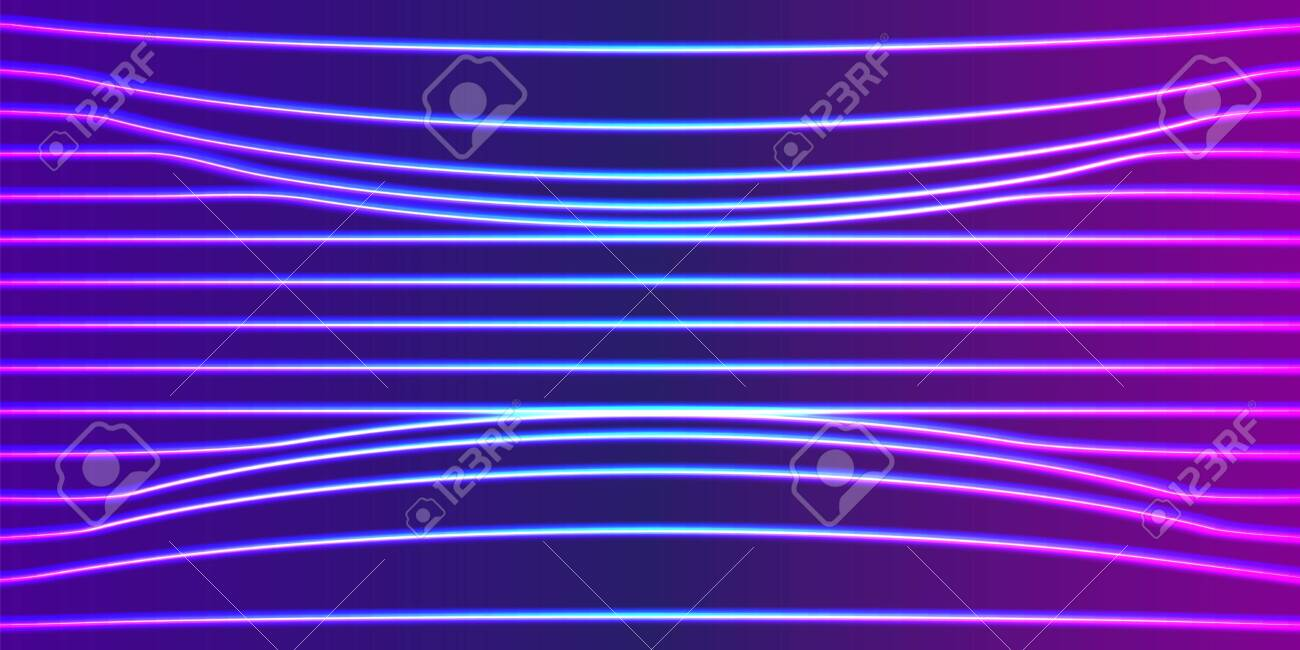 Neon Lines Background With Glowing 80s Retro Vaporwave Or