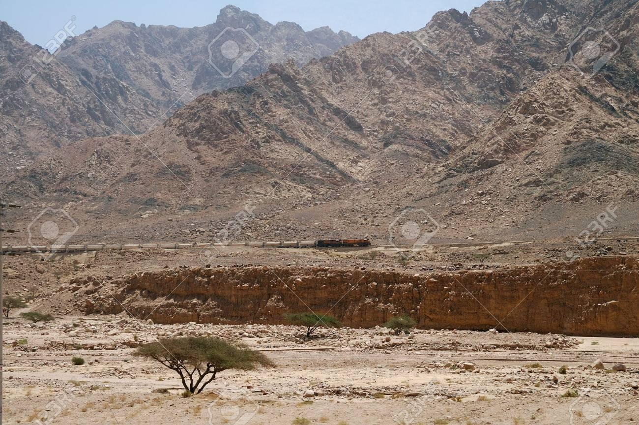 Old Jordan railway. Train in desert mountains - 5326022
