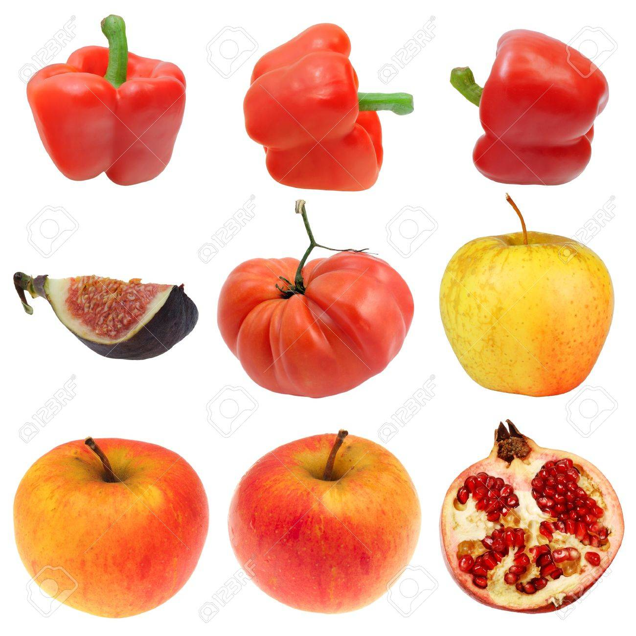 Little set of fruits and vegetables: pepper, aple, tomato, fig, pomegranate Stock Photo - 7894536